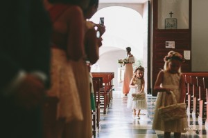 Flower girls_Church Entrance_Here comes the bride sign_Destination Wedding Photographer_London_Europe